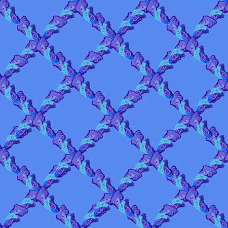 ornithological: Seamless blue lattice peacock feather pattern background, vector illustration. Illustration
