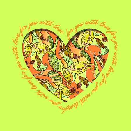 holidays for couples: Love card. Green, orange and yellow heart design with text - for you with love and abstract  floral pattern. Vector illustration. Illustration