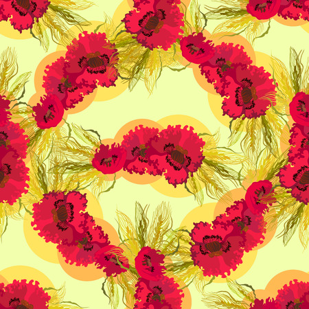 oldened: Poppies and wheat on light yellow background. Vintage seamless pattern. Vector illustration.