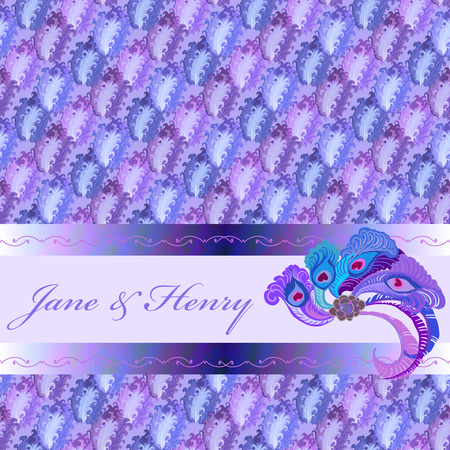 ornithological: Background with violet blue feather pattern, peacock feather decor and text place. Abstract vector illustration. Illustration