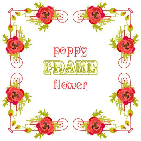 fond de texte: Cadre avec des fleurs et des feuilles de pavot rouges isolés. Floral background. Carte de voeux. Vector illustration.
