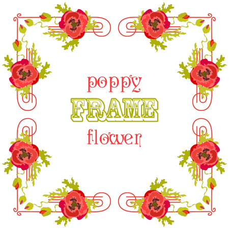 background card: Frame with red poppy flowers and leaves isolated. Floral background. Greeting card. Vector illustration.