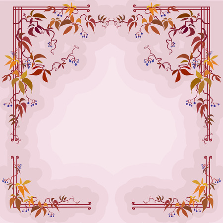 grapes on vine: Design with autumn wild grape branches, leaves and fruits in pastel cream color background Illustration