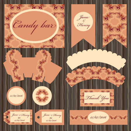wedding table decor: Set of printable backgrounds to celebrate the party, birthday and wedding. Autumn grapevine branches and leaves vector design. Candy bar design