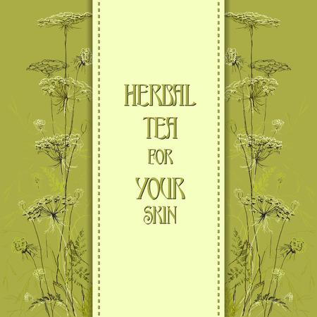 herbal background: Green border hand drawn sketch herbs. Vertical design background. Herbal tea for your skin.