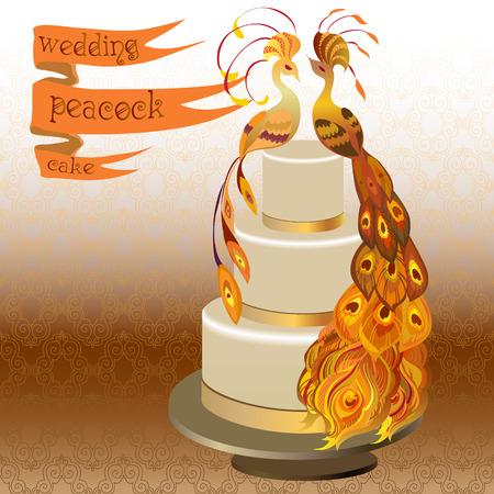 orange cake: Wedding cake with couple peacocks. Golden, orange and yellow design. Ribbon with text. Vector illustration. Illustration
