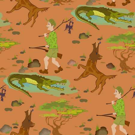 hunters: Seamless pattern with cartoon hunters, wolfs and alligators. Humor vector illustration. Illustration