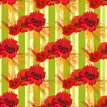 oldened: Garland of poppies and wheat on light yellow striped background. Vintage seamless pattern. Vector illustration. Illustration