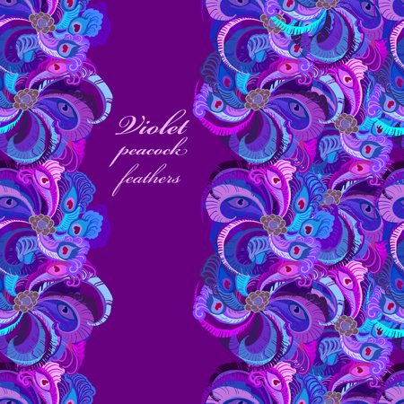 feminine background: Violet, lilac and blue peacock feathers. Vertical border dark design. Text place. Vector illustration.