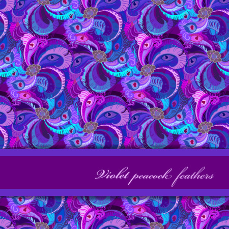 strip design: Violet, lilac and blue peacock feathers pattern background. Horizontal strip design. Text place. Vector illustration.