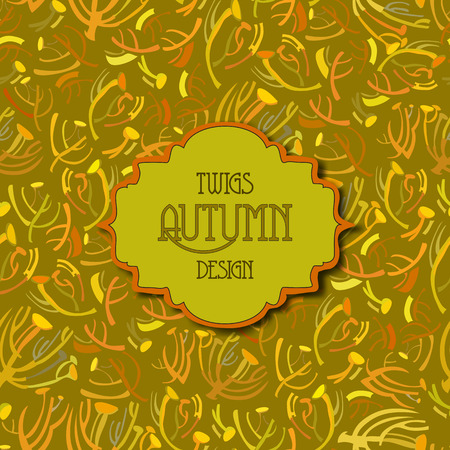 pistachio: Tansy twigs pattern. Golden pistachio autumn background. Vintage label. Text place. Vector illustration.