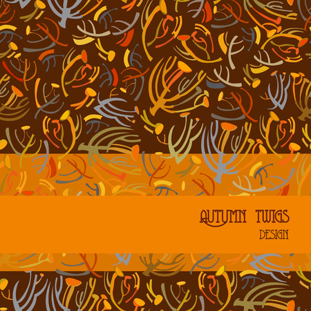 twigs: Twigs pattern. Orange brown autumn tansy background with strip design. Text place. Vector illustration.