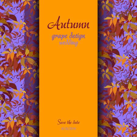 strip design: Autumn wild grape with orange red leaves. Vertical border strip design. Wedding card. Text place. illustration.