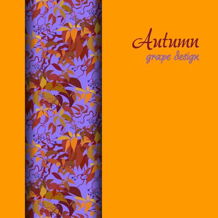 strip design: Autumn wild grape with orange red leaves. Vertical border strip design. Text place. illustration. Illustration