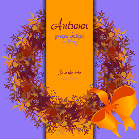 strip design: Autumn circle wreath of wild grape with orange red leaves. Vertical border strip design. Wedding card. Text place. illustration.