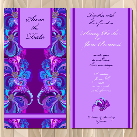 printable: Wedding invitation card with peacock feathers. Printable backgrounds set. Violet  design. illustration. Illustration