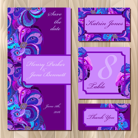 guest: Set of violet printable backgrounds to celebrate the wedding. Peacock Feathers. Invitation card, table number, guest card. illustration.