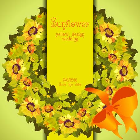 strip design: Yellow orange floral sunflower and leafs circle wreath. Vertical border strip design. Wedding card. Text place. illustration.