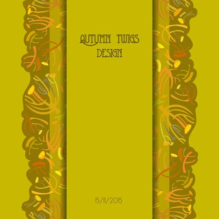 strip design: Twigs pattern. Golden pistachio autumn tansy background with vertical strip design. Text place. illustration.