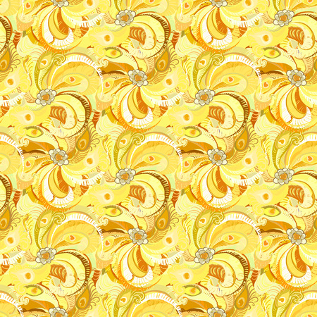 classics: Yellow peacock feathers seamless pattern background. illustration. Illustration
