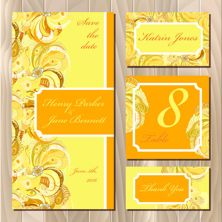 yellow card: Set of yellow printable backgrounds to celebrate the wedding. Peacock Feathers. Invitation card, table number, guest card. Light golden, orange and yellow design. illustration.