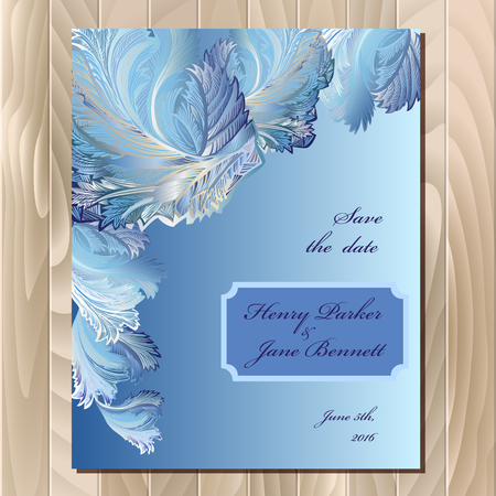frosted window: Wedding card with winter frozen glass. Printable abstract background. Blue design. Vector illustration. Illustration