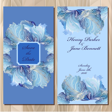 hoar frost: Wedding invitation card with frozen glass design. Printable backgrounds set. Blue vertical design. Vector illustration.