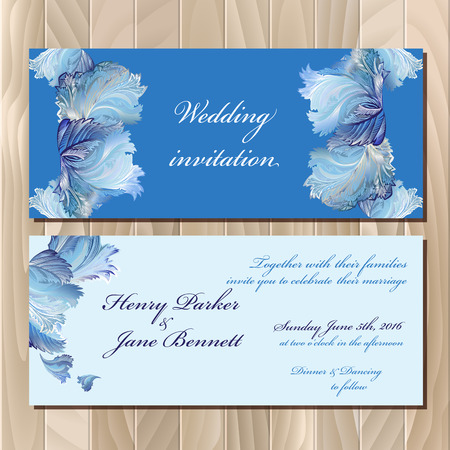 rime frost: Wedding invitation card with winter frozen glass design. Printable backgrounds set. Blue horizontal design. Vector illustration.