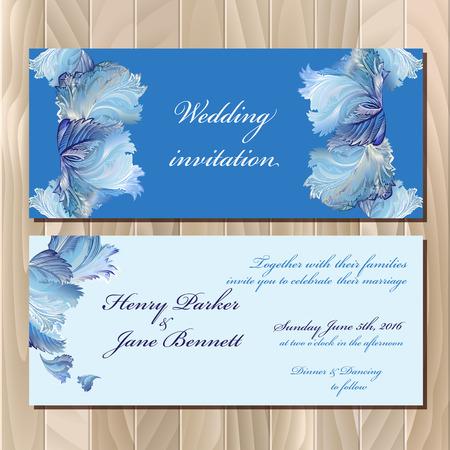 rime: Wedding invitation card with winter frozen glass design. Printable backgrounds set. Blue horizontal design. Vector illustration.