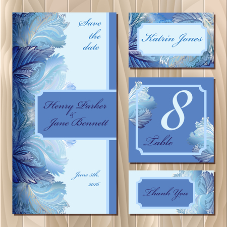 wedding table decor: Winter frozen glass design. Set printable backgrounds. Invitation card, table number, guest card. Blue design. Vector illustration.