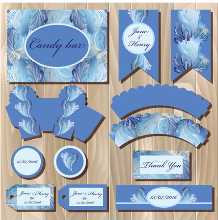 winter wedding: Set of printable backgrounds to celebrate the party, birthday and wedding. Winter frozen glass design. Candy bar packaging. Illustration