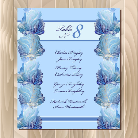 rime frost: Guest list for table. Winter frozen glass design. Vector background. Blue wedding design blank template. Vector illustration