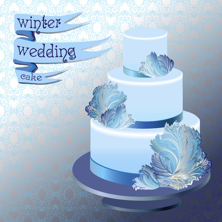 rime frost: Wedding cake with winter frozen glass design. Blue design. Ribbon with text. Vector illustration.