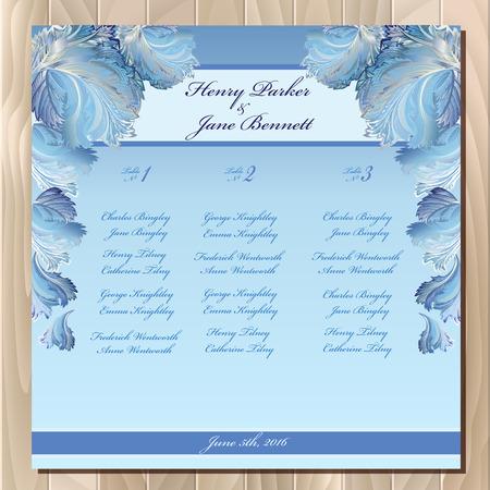 frozen glass: Wedding guest list for table. Winter frozen glass design background. Blue wedding design blank template. Vector illustration Illustration