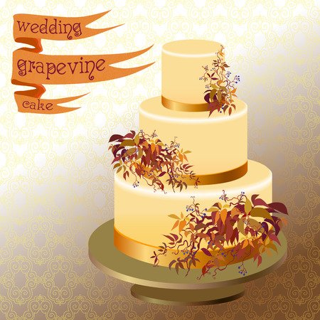 orange cake: Wedding cake with autumn wild grape branches and orange red leaves. Ribbon with text. Vector illustration.