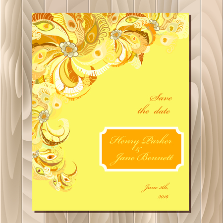 printable: Wedding card with peacock feathers. Printable abstract background. Orange yellow light design. Vector illustration.