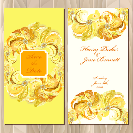 yellow card: Wedding invitation card with peacock feathers. Printable backgrounds set. Golden vertical design. Vector illustration.