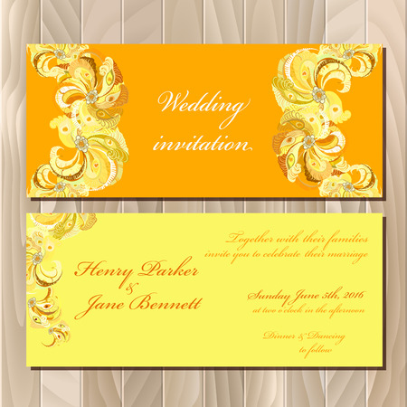 printable: Wedding invitation card with peacock feathers. Printable backgrounds set. Orange golden horizontal design. Vector illustration.