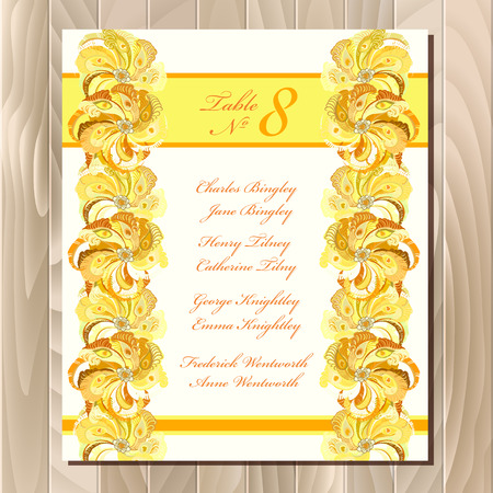 guest: Guest list for table. Vector background peacock feathers. Golden wedding design blank template. Vector illustration Illustration