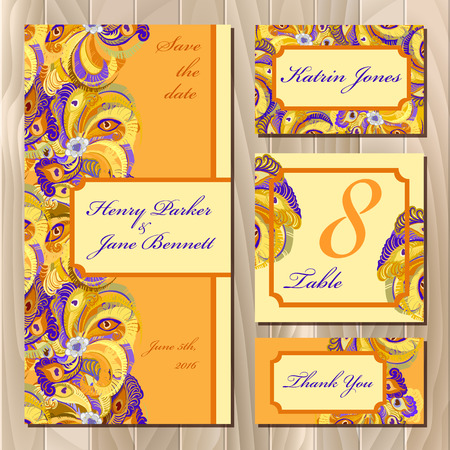 guest: Set of orange printable backgrounds to celebrate the wedding. Peacock Feathers. Invitation card, table number, guest card. Golden, orange and yellow design. Vector illustration.