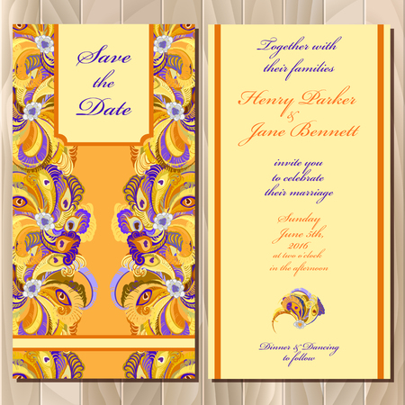 printable: Peacock Feathers. Set printable backgrounds wedding invitation card. Golden, orange and yellow design. Vector illustration. Illustration