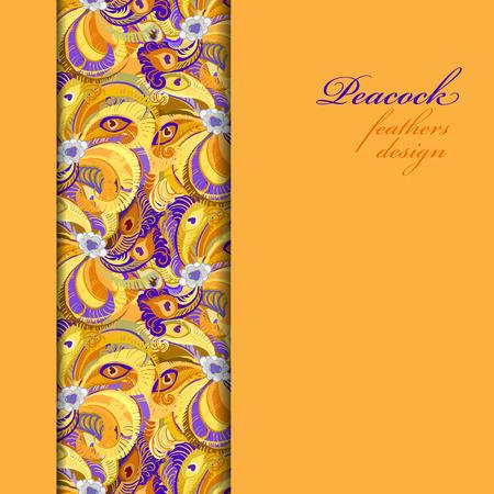peafowl: Orange vertical border peacock feathers pattern background. Text place. Vintage vector illustration. Illustration
