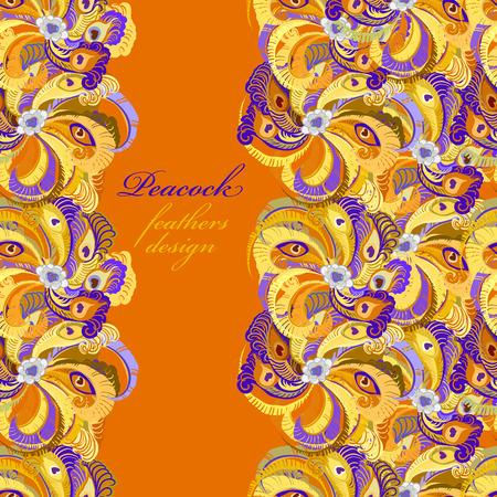 peafowl: Orange peacock feathers, pattern background. Vertical border design. Text place. Vintage vector illustration.