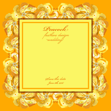 yellow card: Wedding frame with peacock feathers. Printable abstract background. Orange yellow light design. Vector illustration. Illustration