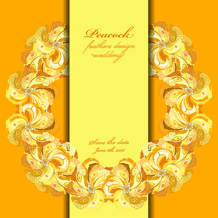 printable: Wedding wreth frame with peacock feathers. Printable abstract background. Orange yellow light circle design. Vector illustration.
