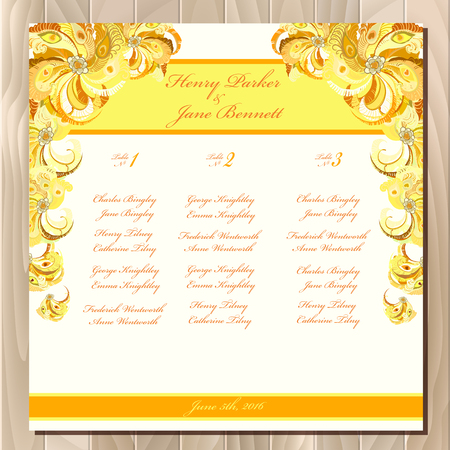 wedding guest: Wedding guest list for table. Vector background peacock feathers. Golden wedding design blank template. Vector illustration Illustration