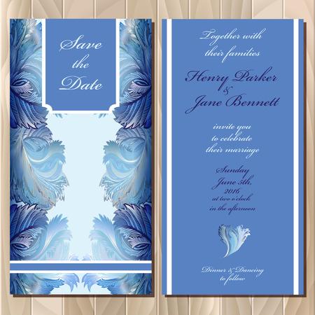 Winter bevroren glas design. Stel afdrukbare achtergronden bruiloft uitnodiging kaart. Blauw ontwerp. Vector illustratie.