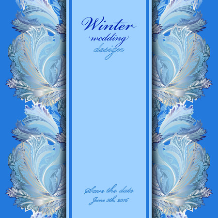 rime frost: Winter frozen glass background. Vertical center border design. Text place. Vintage illustration.