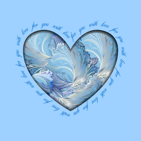 hoar frost: Hand drawn winter frozen glass heart design with text - for you with love. Love card.
