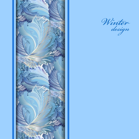 vintage invitation: Blue vertical border winter frozen glass background. Text place. Vintage illustration. Illustration